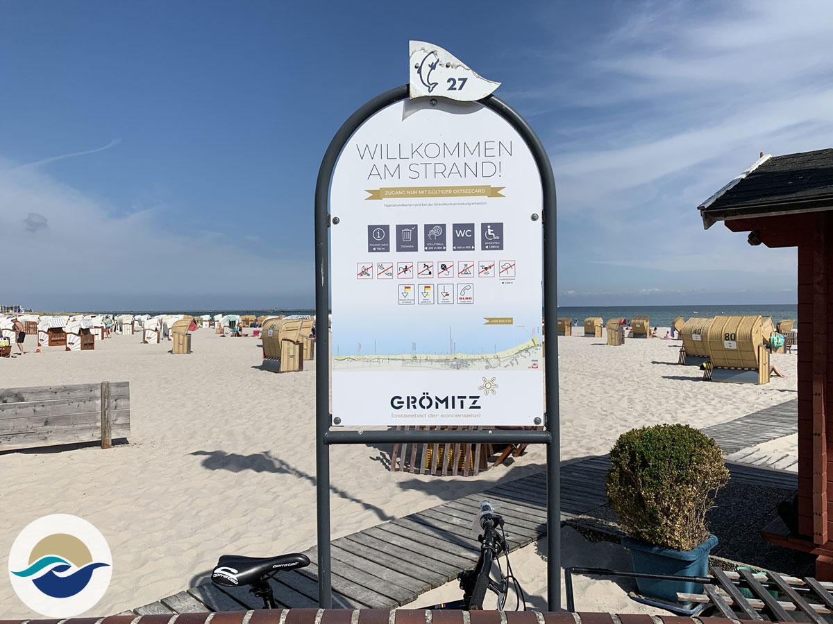 Strandabschnitt 'Delphin' direkt vor dem Miramar gelegen, Strandkorbvermietung Herr Delfs
