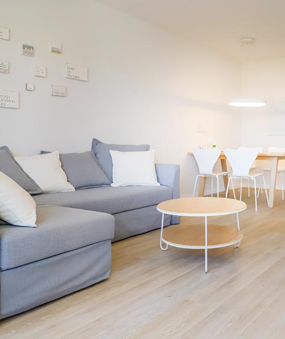 Das großzügige Wohnzimmer verfügt über eine Schlafcouch mit Sessel.