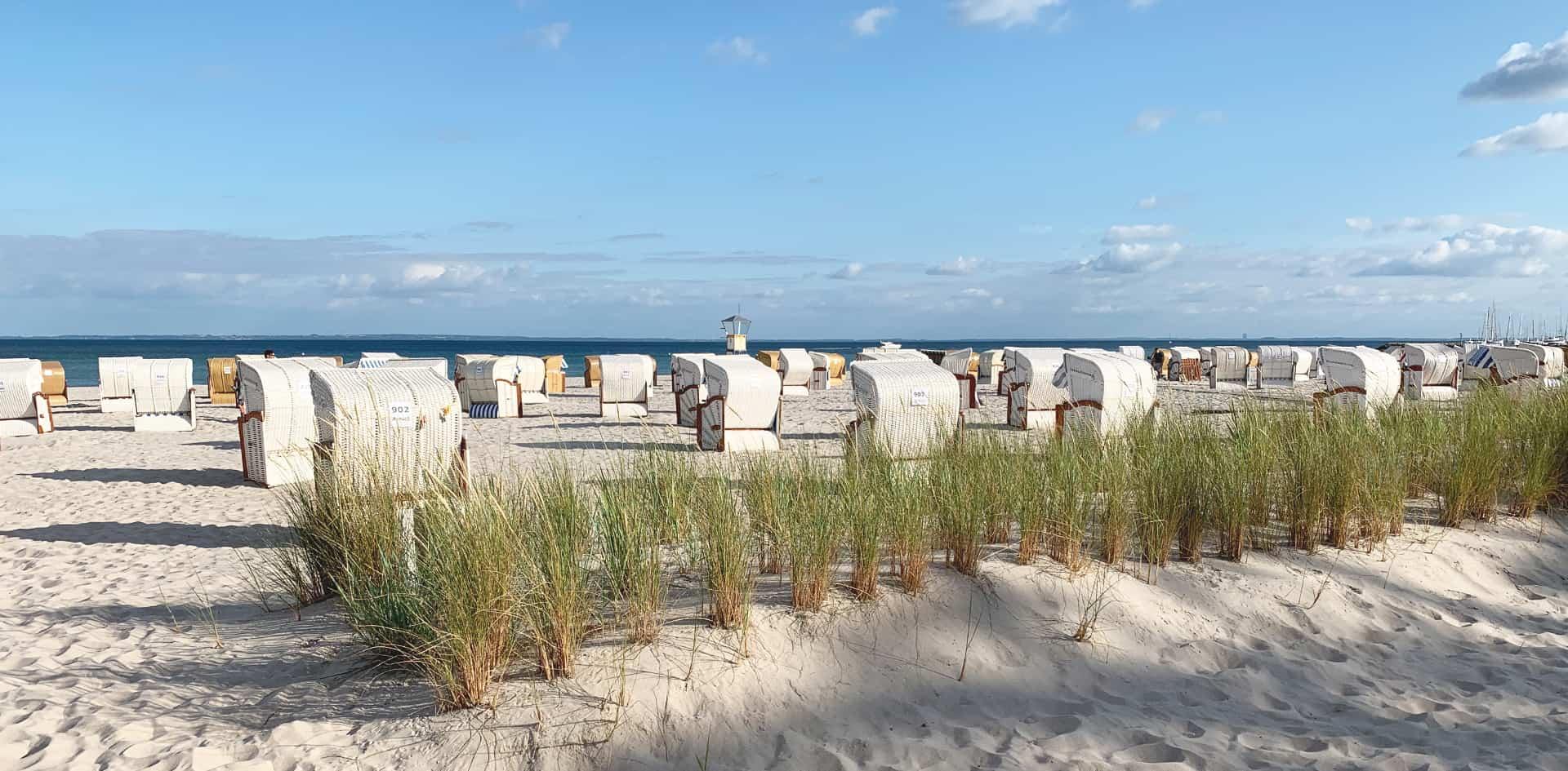 Beeindruckende acht Kilometer feinsten Sandstrand hat Grömitz an der Lübecker Bucht zu bieten.